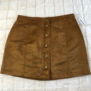 Old Navy Faux Suede Button Up Skirt